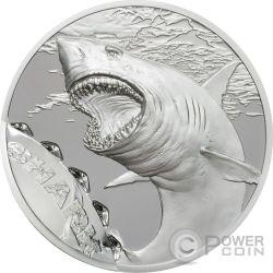 SHARK Tiburon Bitemarks 1 Oz Moneta Plata 5$ Palau 2017