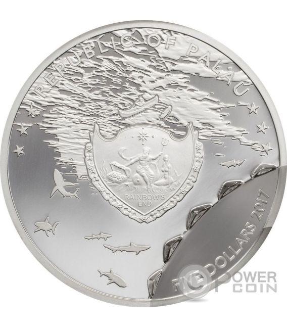 SHARK Bitemarks 1 Oz Серебро Монета 5$ Палау 2017