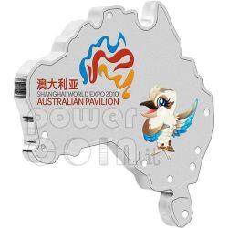 SHANGHAI WORLD EXPO Shape Map Silver Coin 1$ Australia 2010