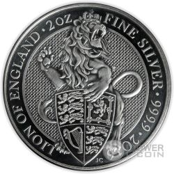 LION Queen Beasts Antique Finish 2 Oz Silver Coin 5£ United Kingdom 2016