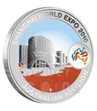 SHANGHAI WORLD EXPO Pavillion Silver Coin 1$ Australia 2010