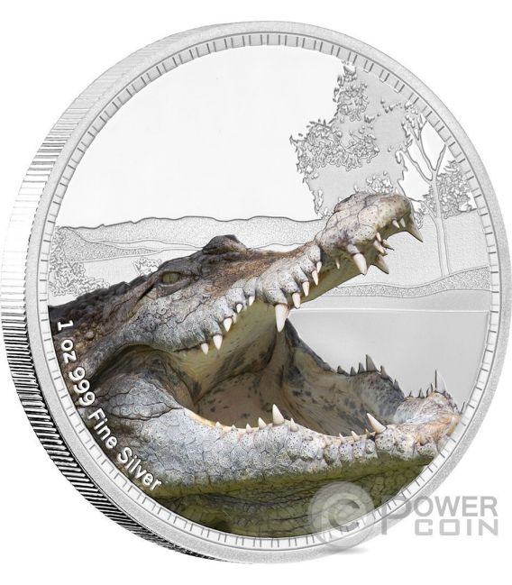 SALTWATER CROCODILE Kings of the Continents 1 Oz Silver Coin 2$ Niue 2017