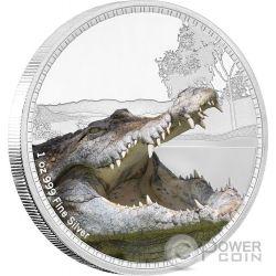 SALTWATER CROCODILE Kings of the Continents 1 Oz Серебро Монета 2$ Ниуэ 2017