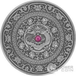 CHINESE DRAGON Drago Mandala Art 3 Oz Moneta Argento 10$ Fiji 2017
