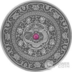 CHINESE DRAGON Mandala Art 3 Oz Серебро Монета 10$ Фи́джи 2017