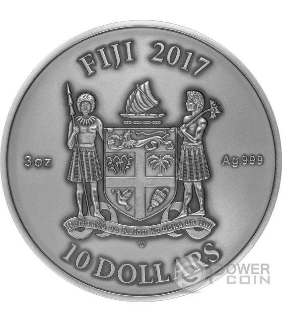 CHINESE DRAGON Chino Mandala Art 3 Oz Moneda Plata 10$ Fiji 2017