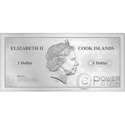 LONDON Londra Skyline Dollars Foil Banconota Argento 1$ Cook Islands 2017
