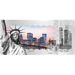 NEW YORK Skyline Dollars Foil Banconota Argento 1$ Cook Islands 2017
