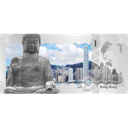 HONG KONG Skyline Dollars Foil Banconota Argento 1$ Cook Islands 2017