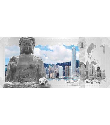 HONG KONG Skyline Dollars Foil Silver Note 1$ Cook Islands 2017