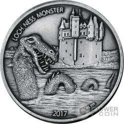 LOCH NESS MONSTER Monstruo del Lago Mythical Creatures 1 Oz Moneda Plata 1000 Francos Burkina Faso 2017