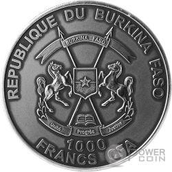 LOCH NESS MONSTER Mostro Mythical Creatures 1 Oz Moneta Argento 1000 Franchi Burkina Faso 2017