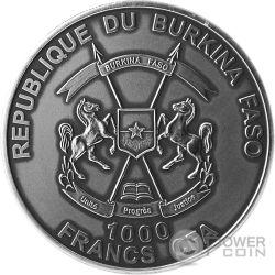 SNOWY OWL Gufo delle Nevi 1 Oz Moneta Argento 1000 Franchi Burkina Faso 2016