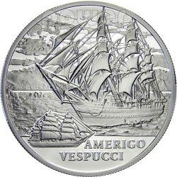 AMERIGO VESPUCCI Sailing Ship Silver Coin Hologram Belarus 2010
