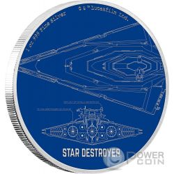 STAR DESTROYER Caccia Stellare Star Wars Ships 1 Oz Moneta Argento 2$ Niue 2017