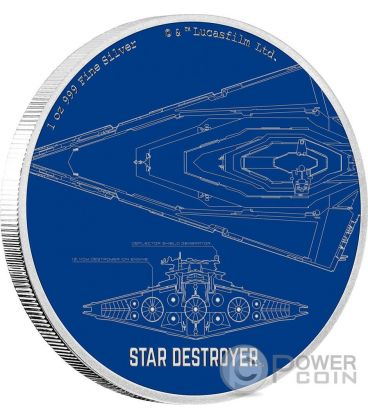 STAR DESTROYER Star Wars Ships 1 Oz Silver Coin 2$ Niue 2017
