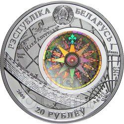 AMERIGO VESPUCCI Sailing Ship Серебро Монета Hologram Белоруссия 2010