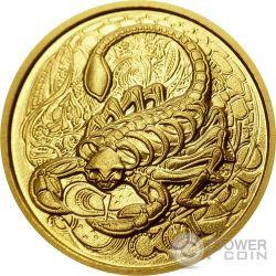 SCORPIO Memento Mori Zodiac Skull Horoscope Gold Coin 2015