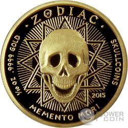 SCORPIO Escorpio Memento Mori Zodiac Skull Horoscope Moneda Oro 2015
