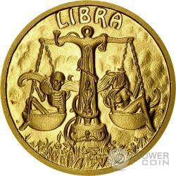 LIBRA Bilancia Memento Mori Zodiac Skull Horoscope Moneta Oro 2015