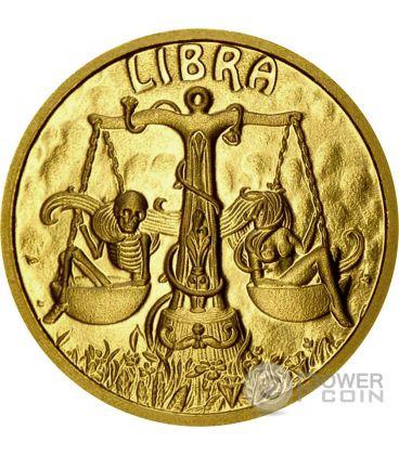 LIBRA Memento Mori Zodiac Skull Horoscope Gold Coin 2015