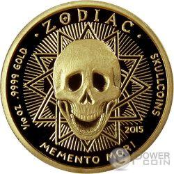 LIBRA Memento Mori Zodiac Skull Horoscope Moneda Oro 2015