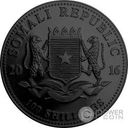 ELEPHANT SUNSET Ruthenium African Wildlife 1 Oz Серебро Монета 100 Шилингов Сомали 2016