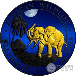 ELEPHANT NIGHT Elefante Noche Rutenio African Wildlife 1 Oz Moneda Plata 100 Shillings Somalia 2017