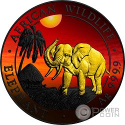 ELEPHANT SUNSET Elefante Tramonto Rutenio African Wildlife 1 Oz Moneta Argento 100 Shillings Somalia 2017