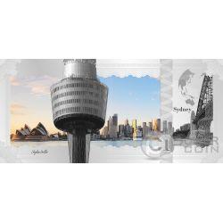 SYDNEY Skyline Dollars Foil Billete Plata 1$ Cook Islands 2017