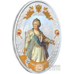 CATHERINE II Catalina Russian Emperors 2 Oz Moneda Plata 5$ Niue 2014