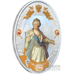 CATHERINE II Russian Emperors 2 Oz Silver Coin 5$ Niue 2014