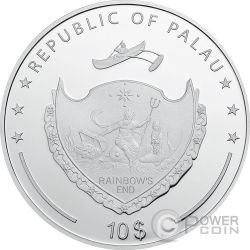 PINKROSE Rosa Rosada High Relief Flowers Leaves 2 Oz Moneda Plata 10$ Palau 2017