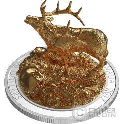 ELK Uapiti Alce Sculpture Of Majestic Animals 3D Moneda Plata 100$ Canada 2017