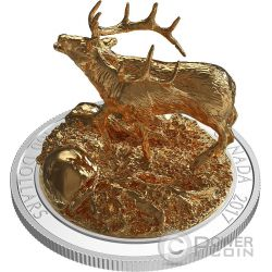 ELK Wapiti Sculpture Of Majestic Animals 3D Silver Coin 100$ Canada 2017