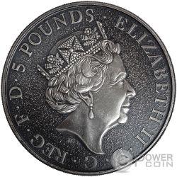 GRIFFIN Grifo Queen Beasts Acabado Antiguo 2 Oz Moneda Plata 5£ United Kingdom 2017