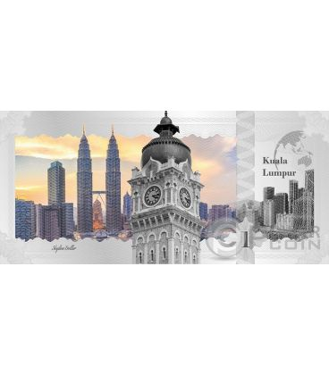 KUALA LUMPUR Skyline Dollars Foil Silver Note 1$ Cook Islands 2017
