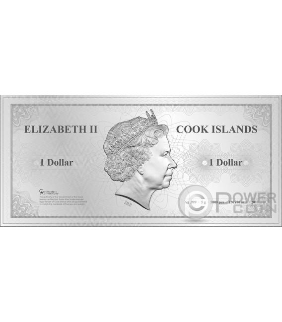 SINGAPORE Skyline Dollars Foil Silver Note 1$ Cook Islands 2017