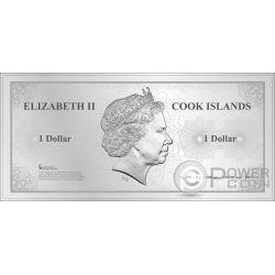 SINGAPORE Skyline Dollars Foil Banconota Argento 1$ Cook Islands 2017