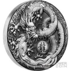 DRAGON 2 Oz Silver Coin 2$ Tuvalu 2017
