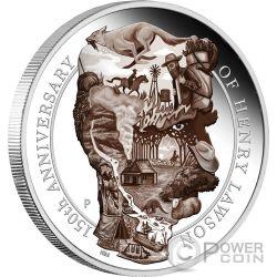 HENRY LAWSON 150 Aniversario 5 Oz Moneda Plata 8$ Australia 2017