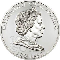 SACRO SANTO GRAAL Tavola Rotonda Moneta Argento 5$ Cook Islands 2009
