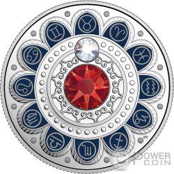 TAURUS Zodiac Swarovski Crystal Silver Coin 3$ Canada 2017