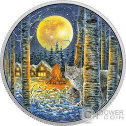 LYNX Lince Animals In The Moonlight Glow In The Dark 2 Oz Moneda Plata 30$ Canada 2017