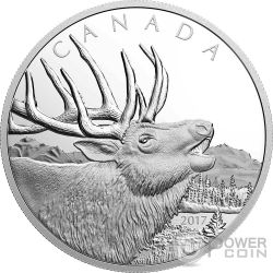 ELK Wapiti Call of the Wild Silver Coin 125$ Canada 2017