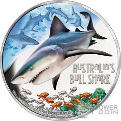 BULL SHARK Squalo Leuca Australia Deadly Dangerous 1 Oz Moneta Argento 1$ Tuvalu 2017