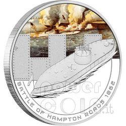 HAMPTON ROADS Naval Battle 1862 Silver Coin 1$ Cook Islands 2010