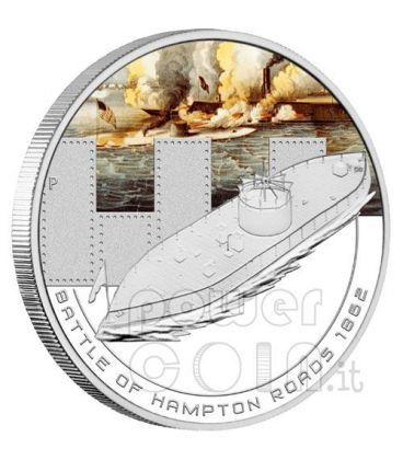 HAMPTON ROADS Battaglia Navale 1862 Moneta Argento 1$ Cook Islands 2010