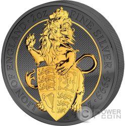 LION Leone Queen Beasts Golden Enigma 2 Oz Moneta Argento 5£ United Kingdom 2016