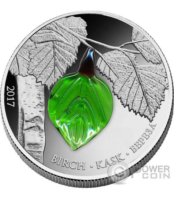 SUMMER BIRCH LEAF Crystal Leaves Four Seasons Silber Münze 1000 Francs Guinea 2017